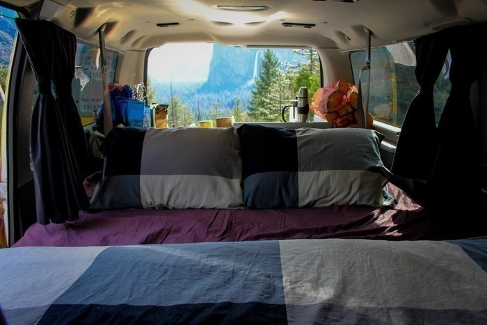 Yosemite-national-park-campervan-view-bed
