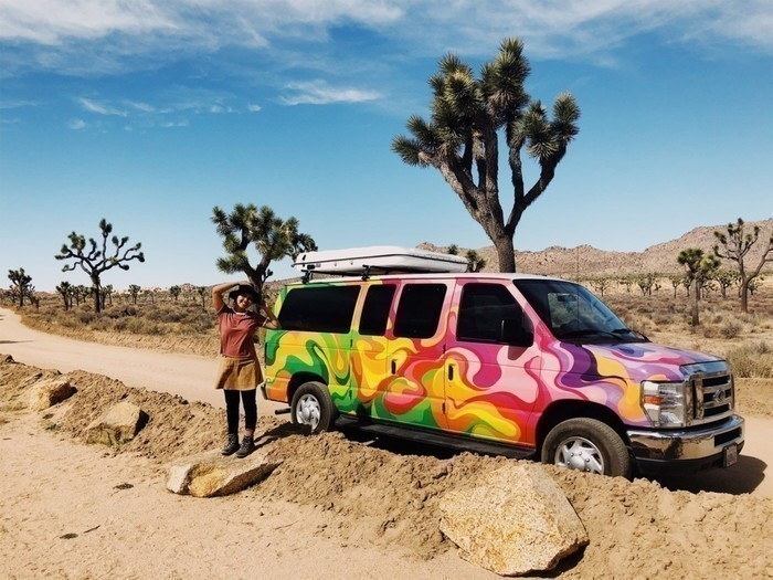 Joshua-tree-national-park-california-campervan-girl
