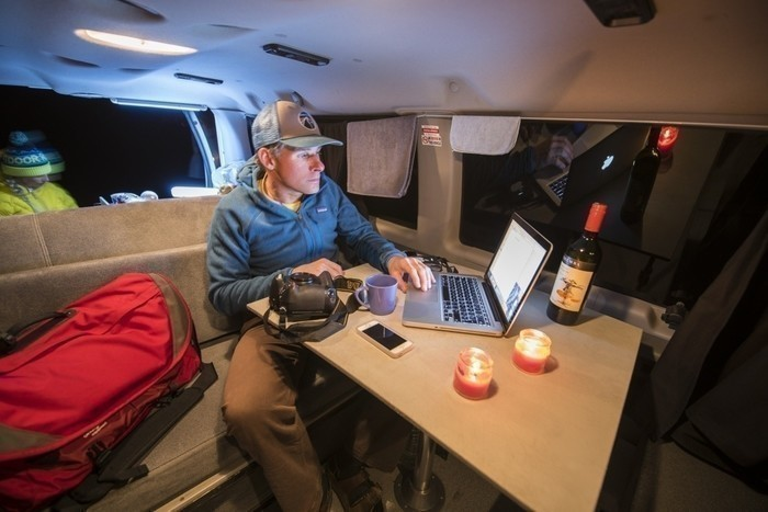 Campervan-table-buildout-night