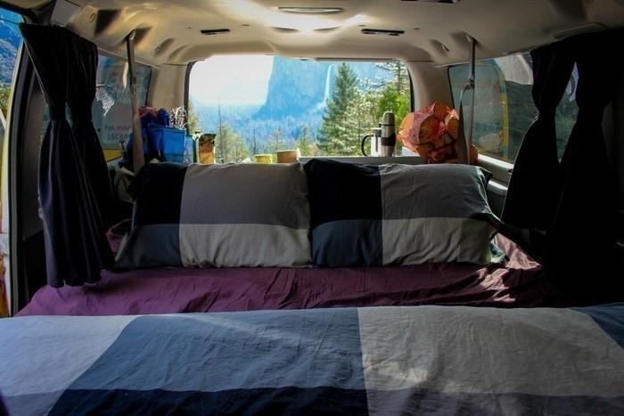 Yosemite-national-park-campervan-view-bed