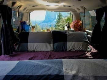 Sm yosemite national park campervan view bed